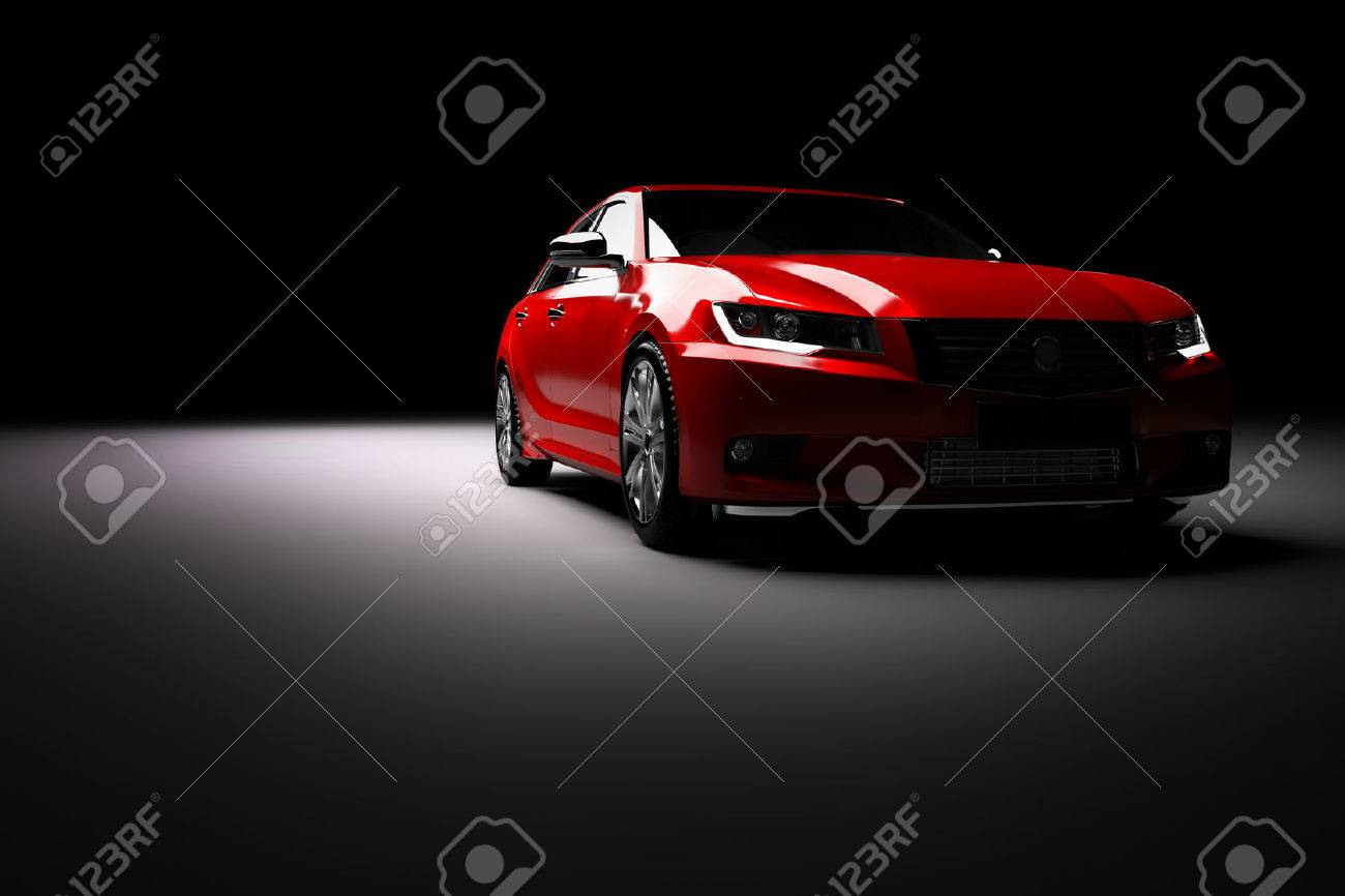 Modern new red metallic sedan car in spotlight. Generic contemporary desing, brandless. 3D rendering. Standard-Bild - 68850286