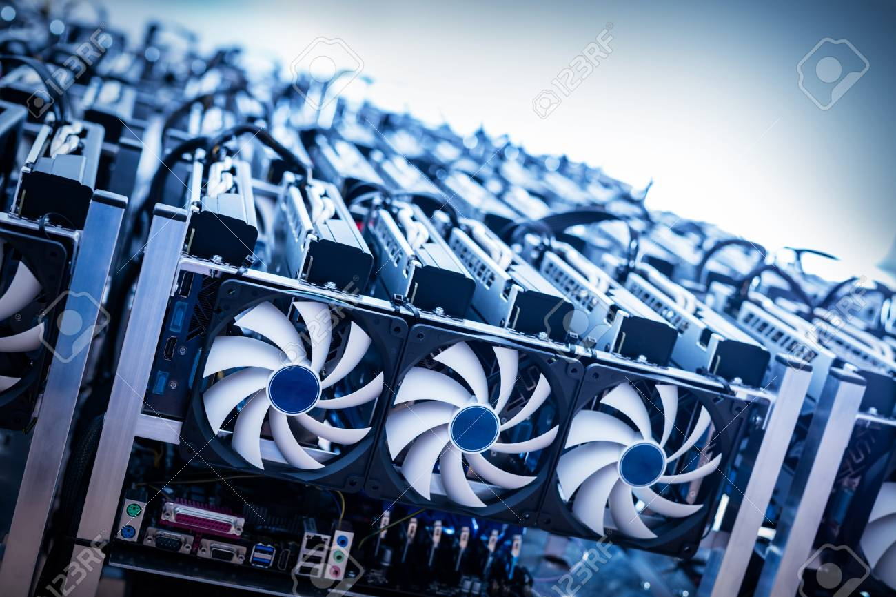 Big IT machine with fans. Cryptocurrency business. Bitcoin mining farm - 91752972