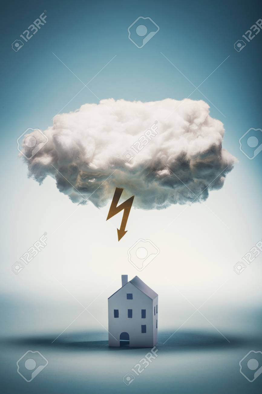 Paper house standing under a white cloud with yellow lightning. Natural distasters. Insurance concept. - 97400363