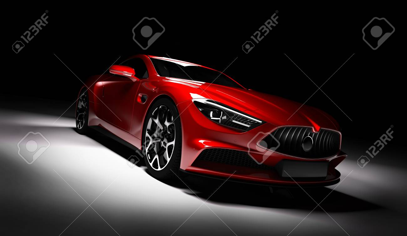 Modern Red Sports Car In A Spotlight On A Black Background Front Stock Photo Picture And Royalty Free Image Image 103948683