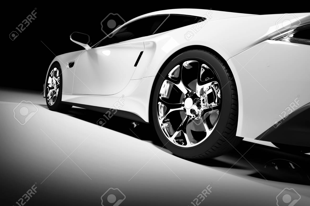 Modern White Sports Car In A Spotlight On A Black Background Stock Photo Picture And Royalty Free Image Image 103948745
