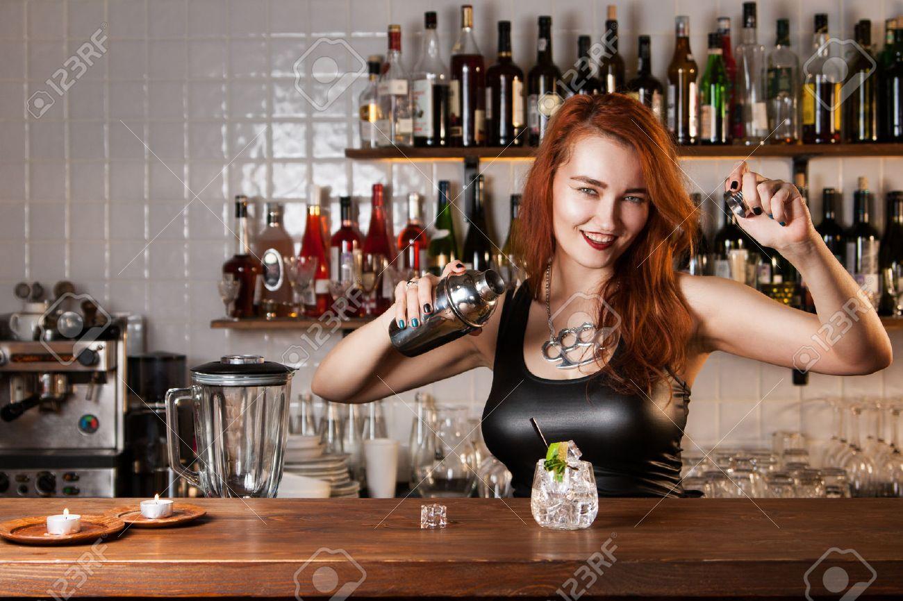 Redhead Bar Tender In Corset