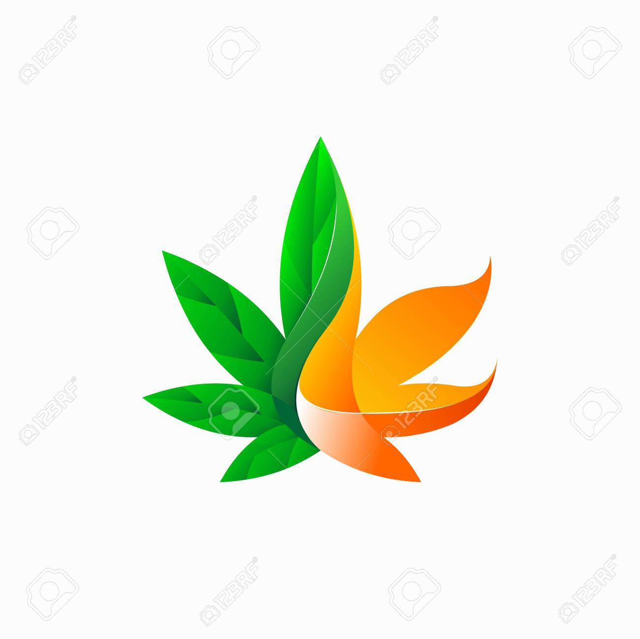 Cannabis logo with fire concept - 143708392