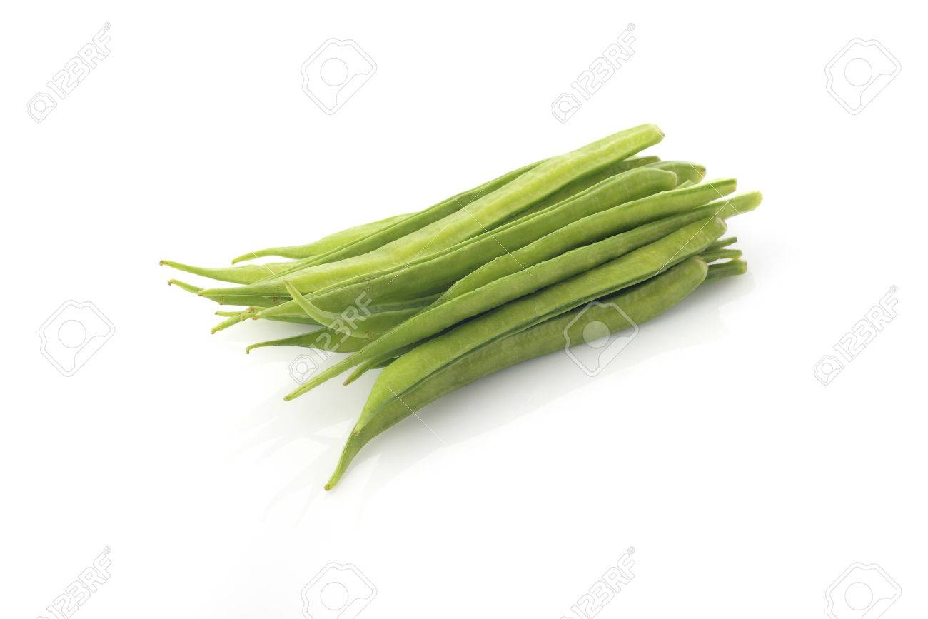 High Resolution Image Of Fresh Green Cluster Beans On White ...
