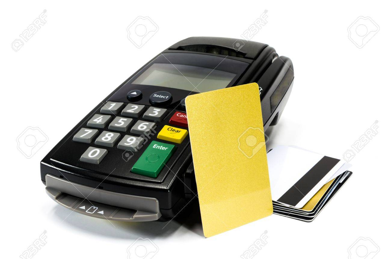 credit card reader machine and blank credit card ,isolated on white background Stock Photo - 16892813