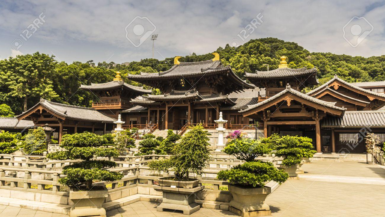 チーリン、唐王朝様式中国の寺院...