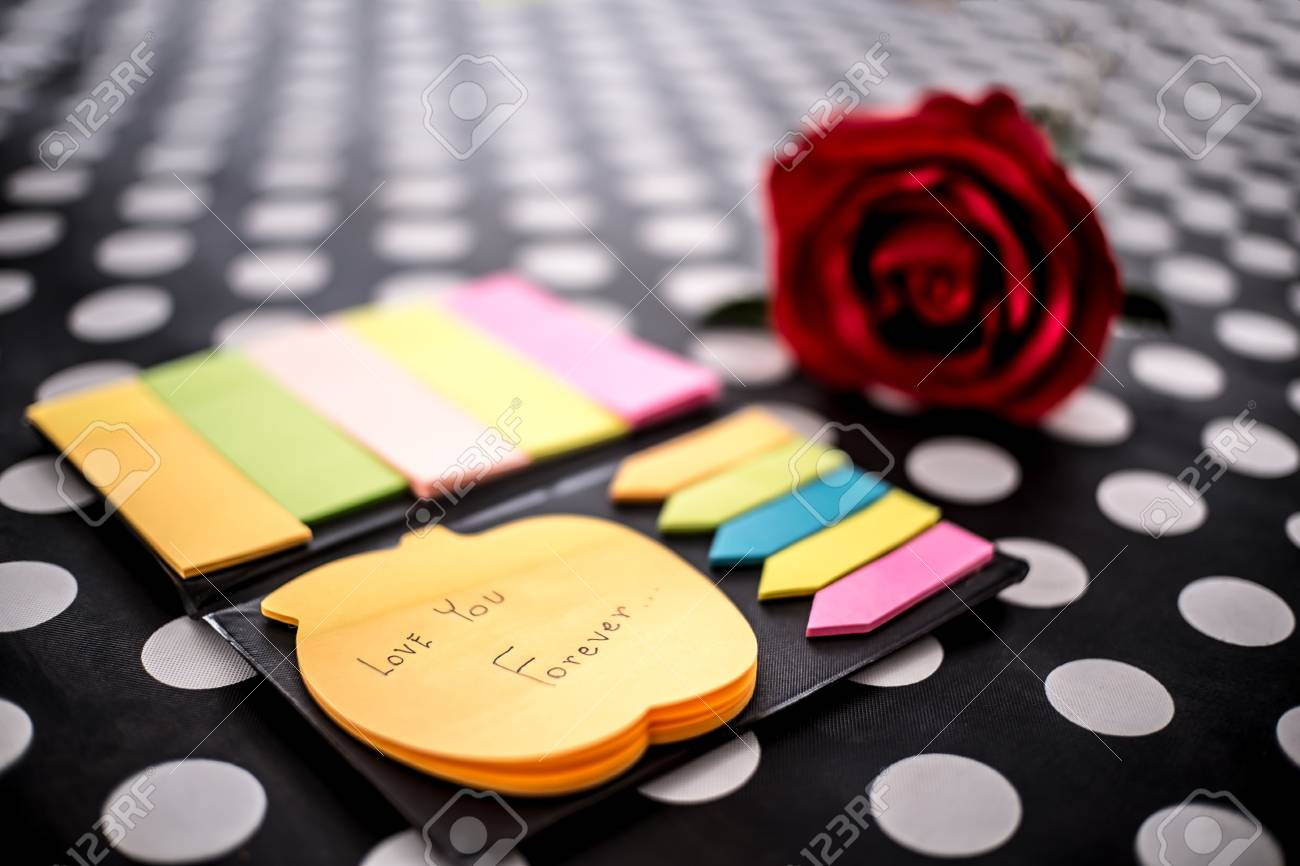 Post-it With Message Love You Forever. Collection Of Different ...