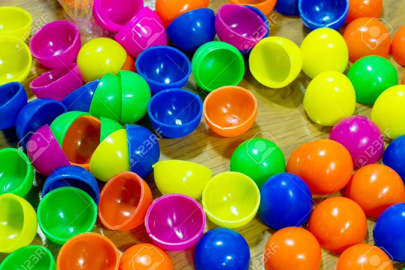 Plastic Easter Eggs Multicolor Background Stock Photo