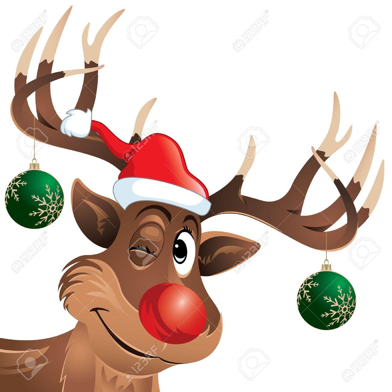 Rudolph The Reindeer Zwinkert Mit Hängenden Weihnachtskugeln Looking ...