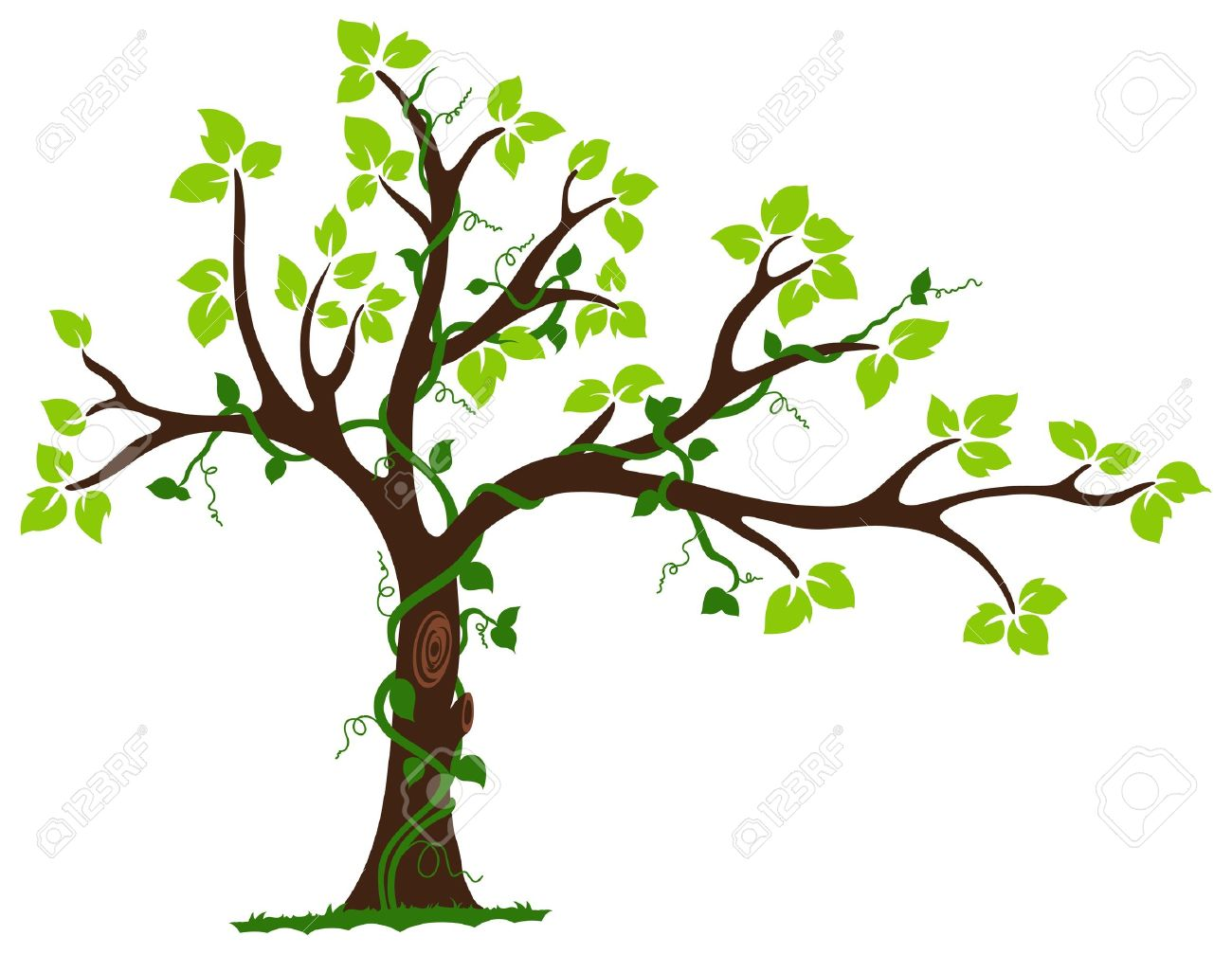 This Is An Illustration Of Love Tree With Hearts Surrounded By ...