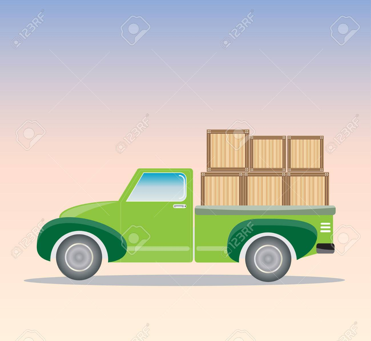 Side View Of Old Pick Up Truck With Wood Cargo Box Royalty Free ...