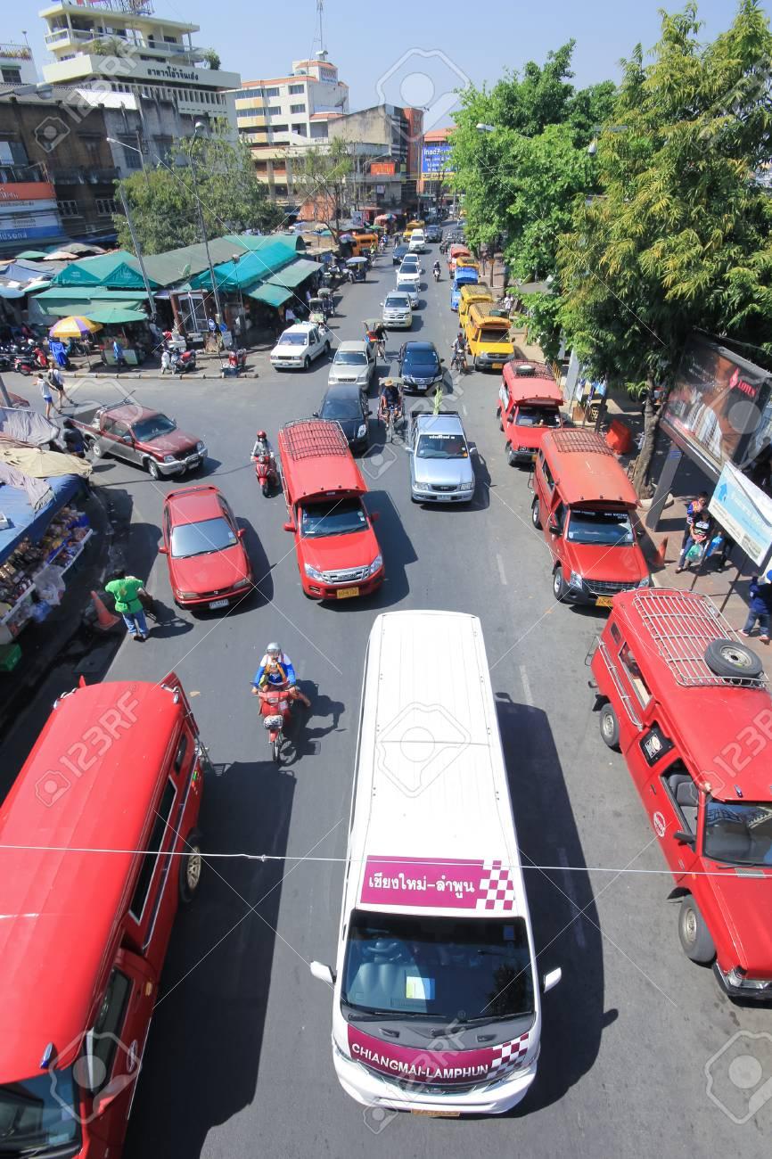 CHIANG MAI , THAILAND - FEBRUARY 25 2015: Traffic on Wichayanon