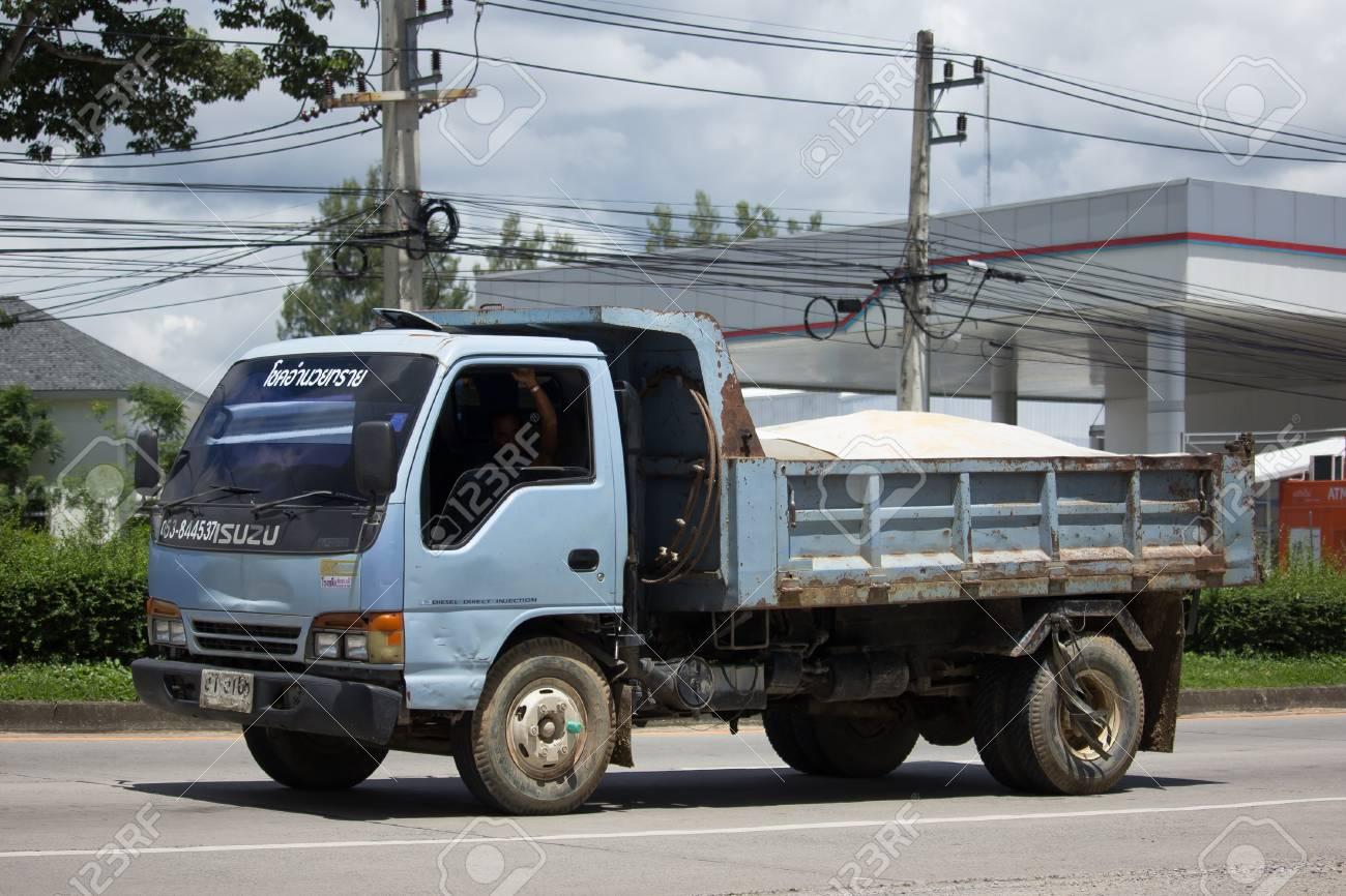 CHIANG MAI, THAILAND   AUGUST 22 2017: Private Isuzu Dump Truck. On Road