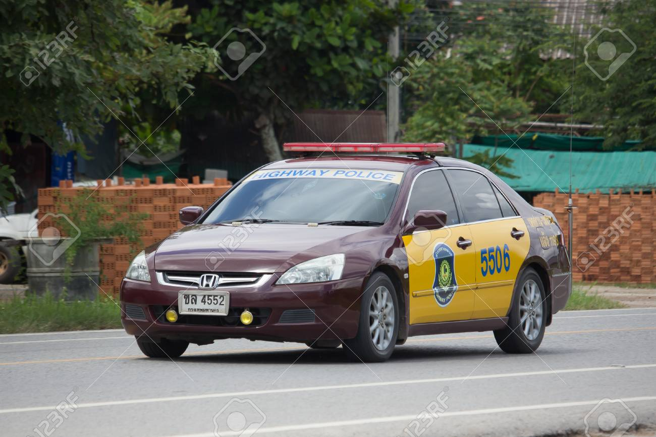 Chiang Mai Thailand September 28 2017 Highway Police Car Stock