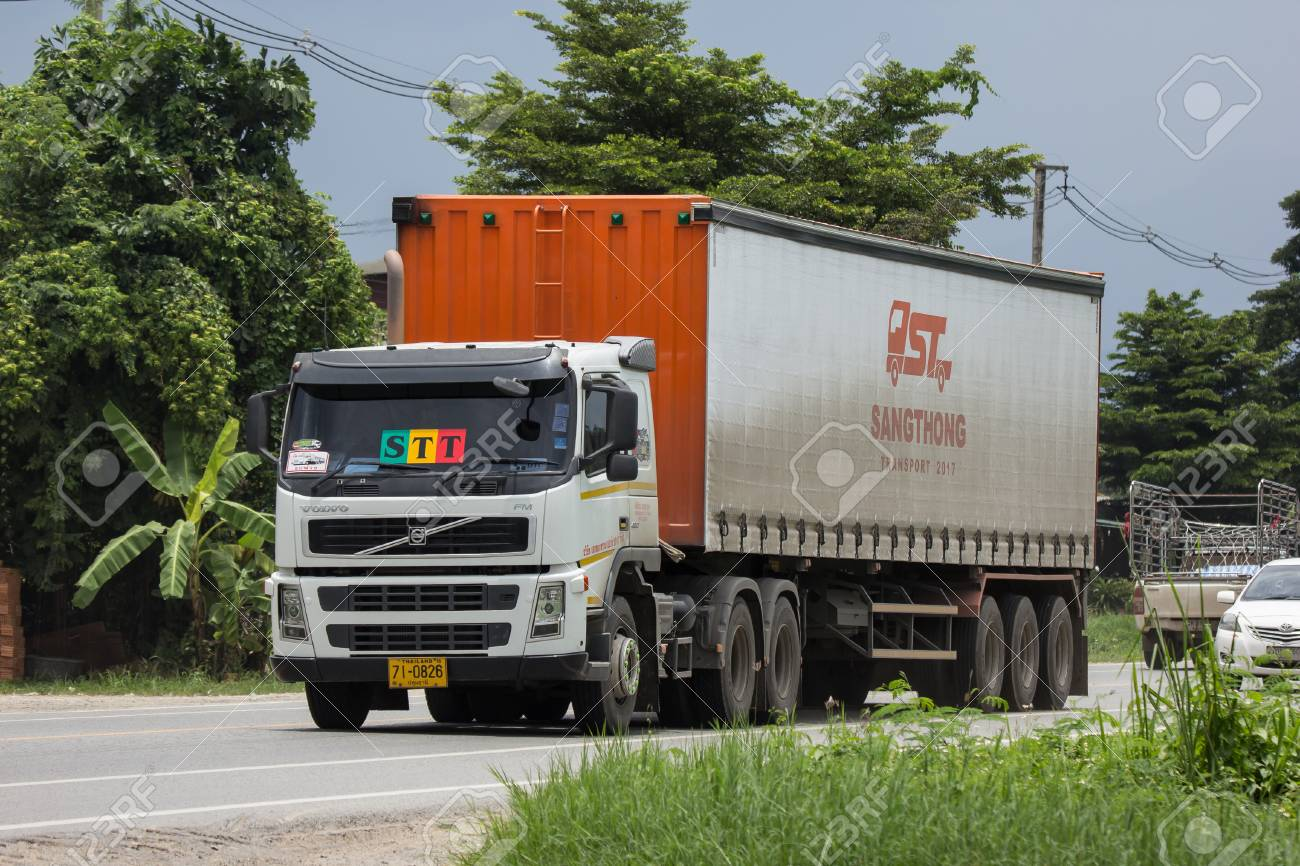 Chiangmai, Thailand - August 3 2018: Trailer Container Cargo Truck of STT Transport. Photo at road no.1001 about 8 km from city center, thailand. - 108886816