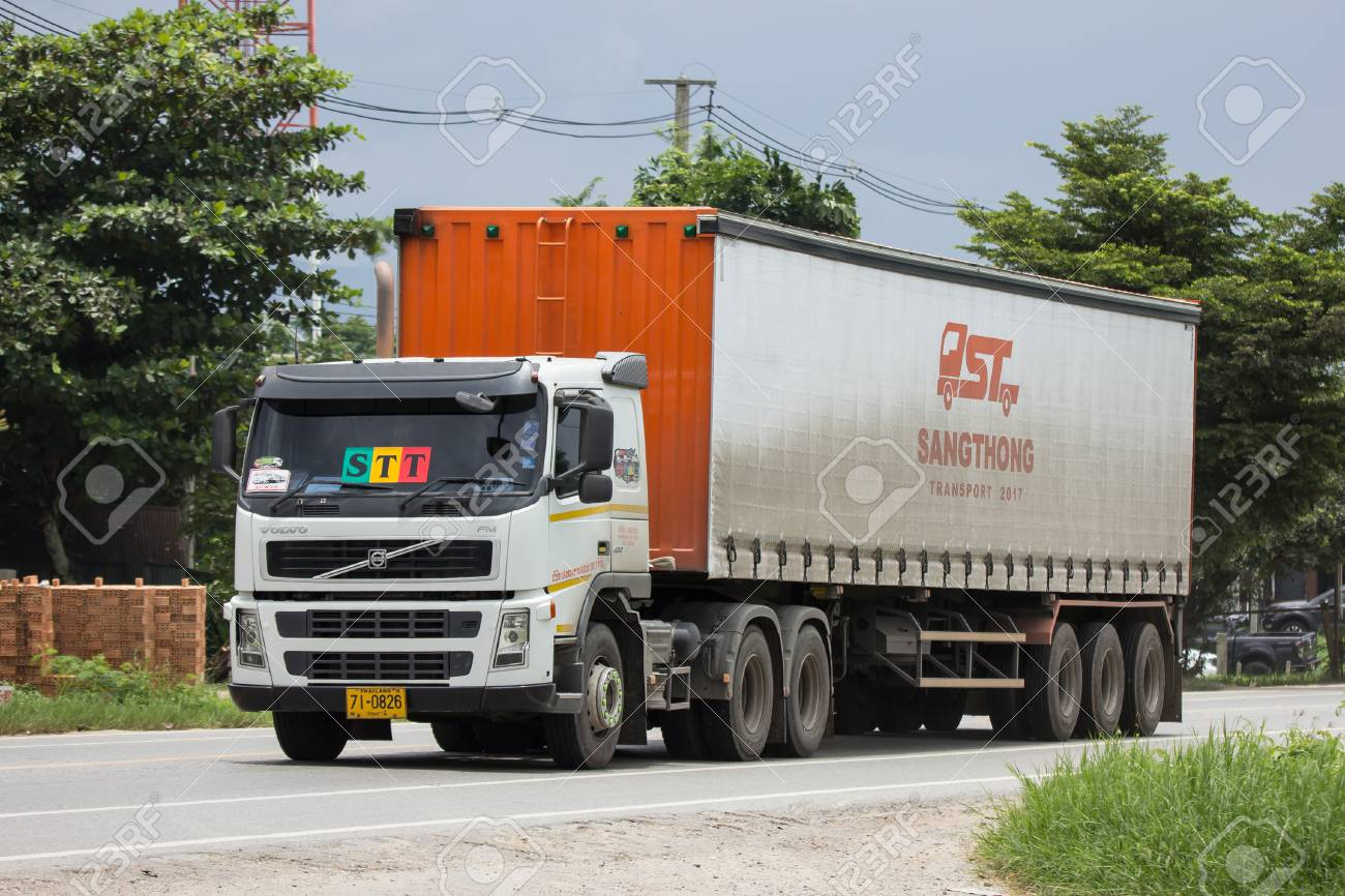 Chiangmai, Thailand - August 3 2018: Trailer Container Cargo Truck of STT Transport. Photo at road no.1001 about 8 km from city center, thailand. - 108886817