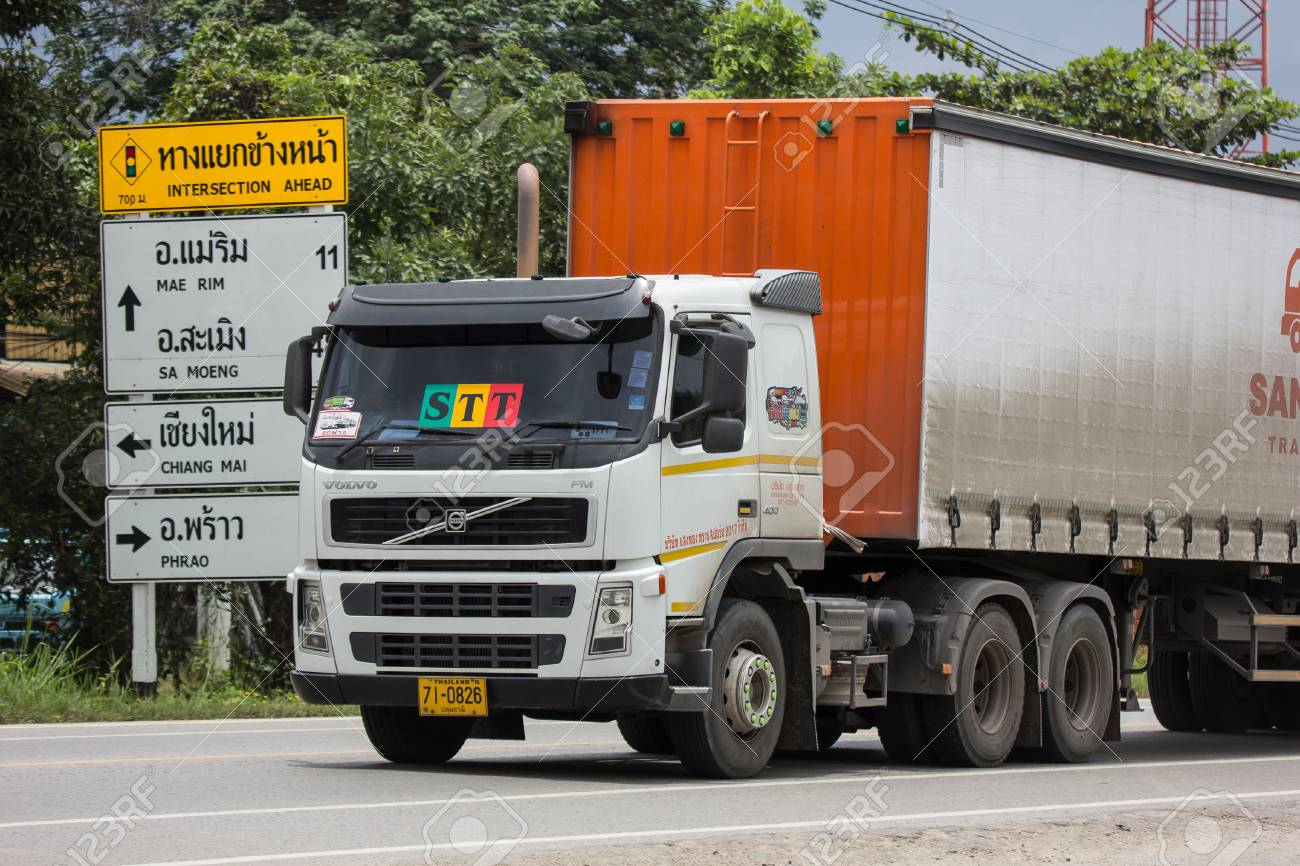 Chiangmai, Thailand - August 3 2018: Trailer Container Cargo Truck of STT Transport. Photo at road no.1001 about 8 km from city center, thailand. - 108886818