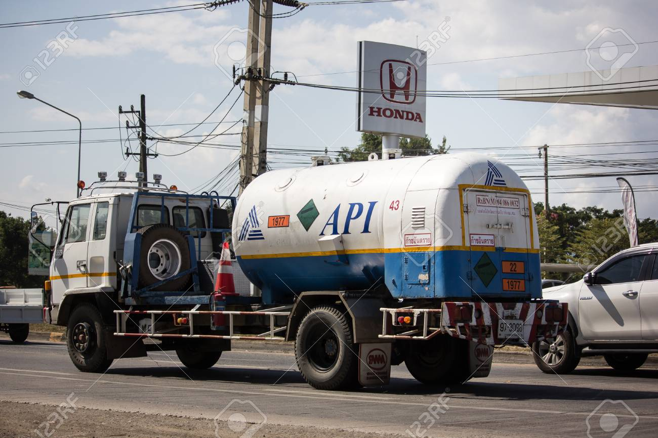 Chiangmai, Thailand - November 26 2018: Api oxygen truck  On