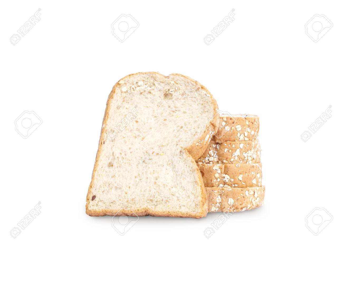 Closeup Pile Of Wheat Bread For Breakfast With Shadow Isolated