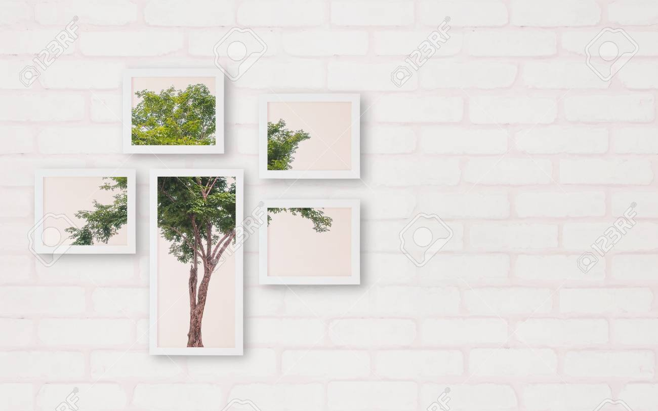 Closeup Surface Frame With Green Tree Photo On Brick Wallpaper ...