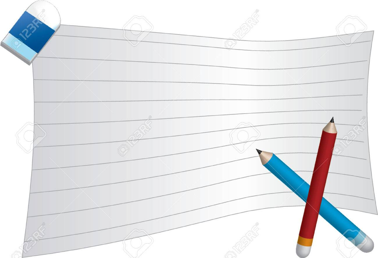 picture about Red and Blue Lined Handwriting Paper Printable identified as Blank covered paper with purple and blue pencil and a rubber