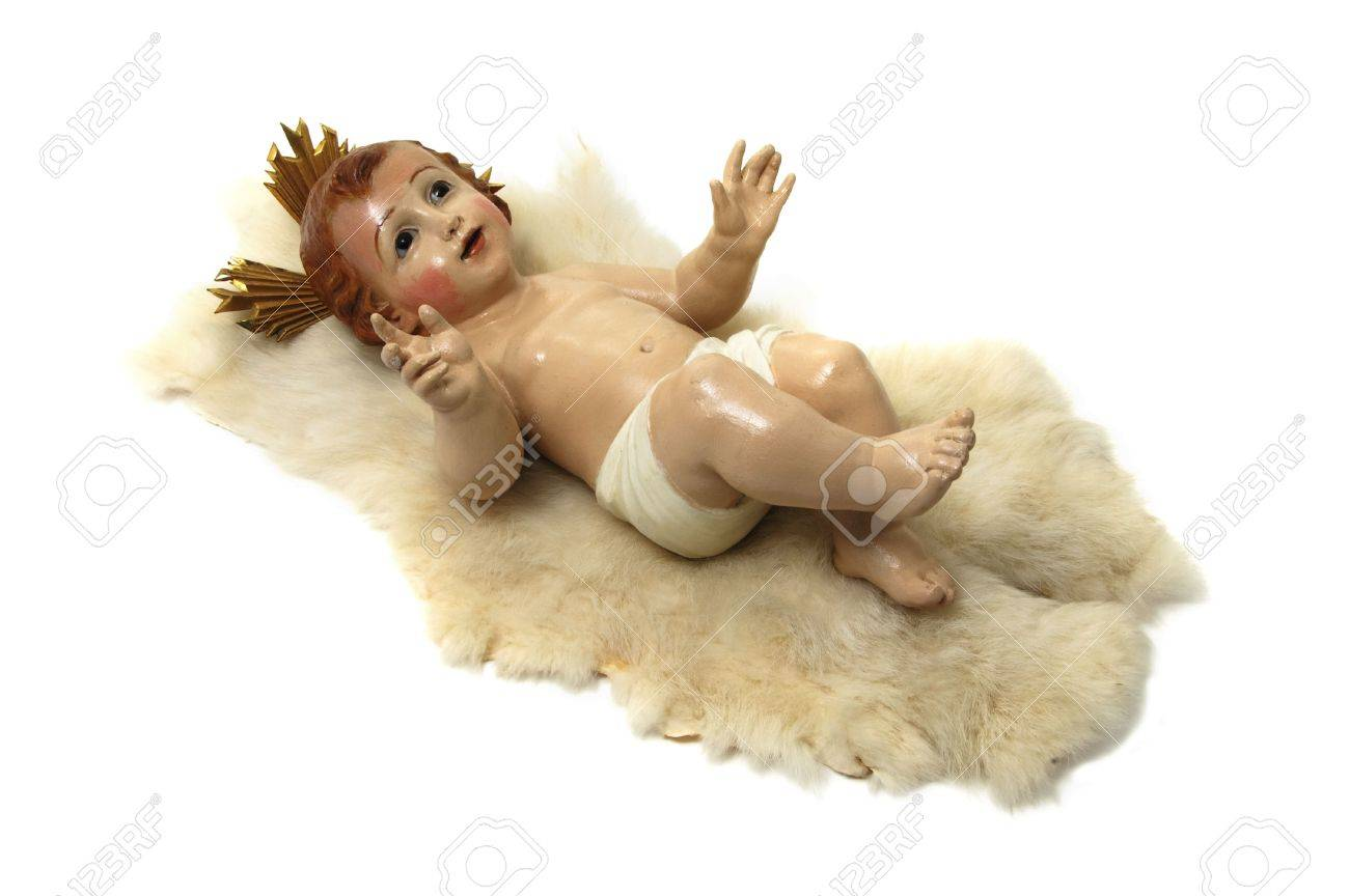 figure of baby jesus on white background stock photo picture and
