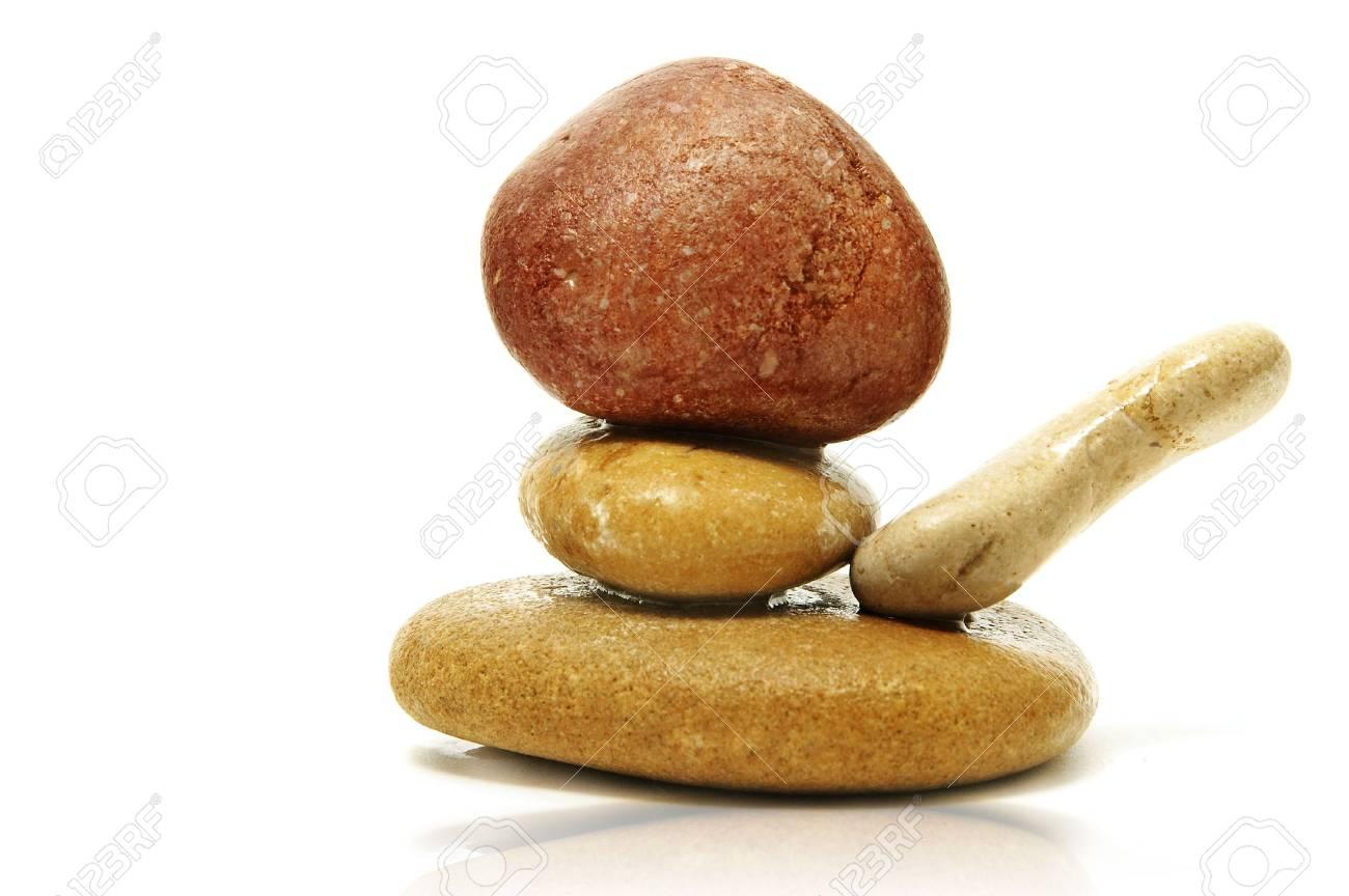a zen stones on a white background Stock Photo - 6370391