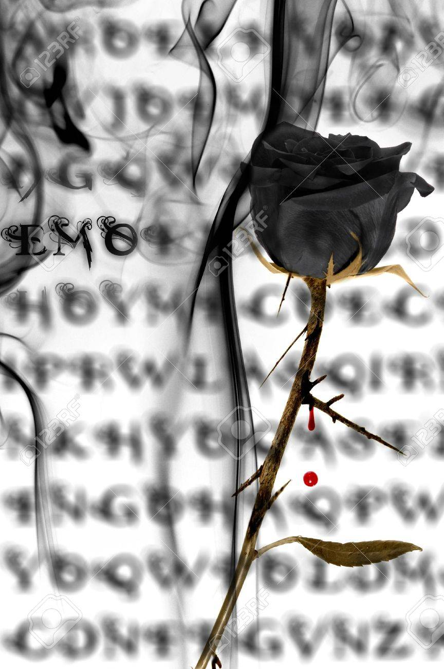 A Black Rose On A Emo Background With Blood And Smoke Stock Photo