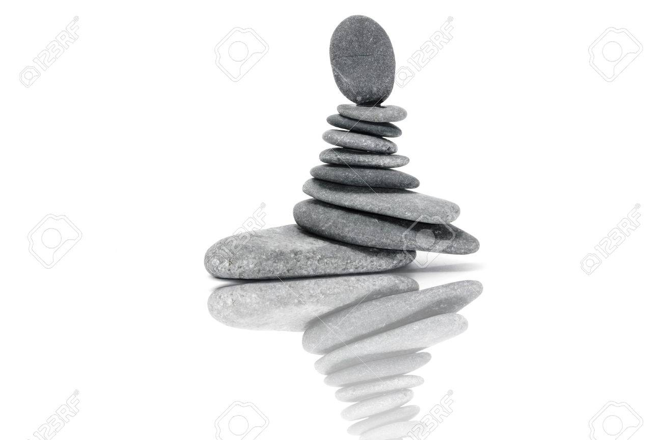 a zen stones background white and black Stock Photo - 6690130