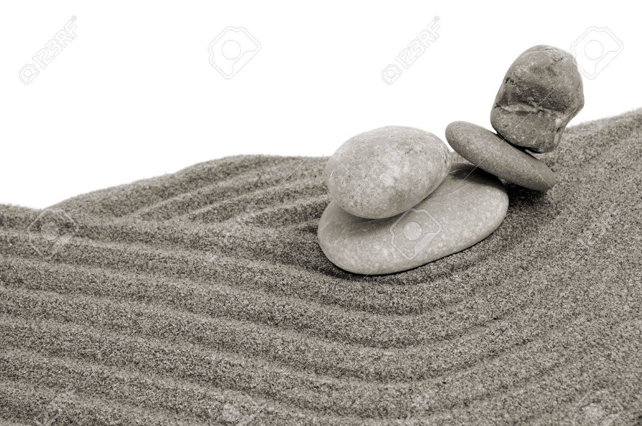 zen stones and sand on a white background Stock Photo - 6895841