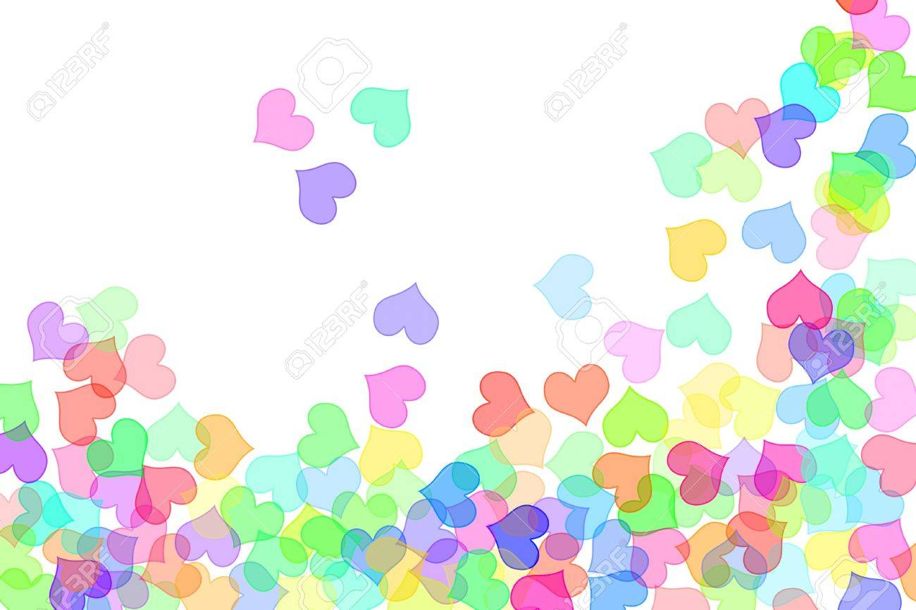 hearts of different colors drawn on a white background Stock Photo - 6898248