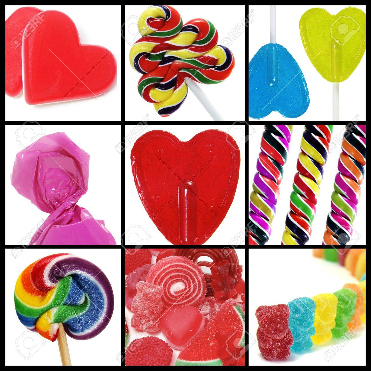 a collage of nine pictures of many sweets and candies Stock Photo - 6952871