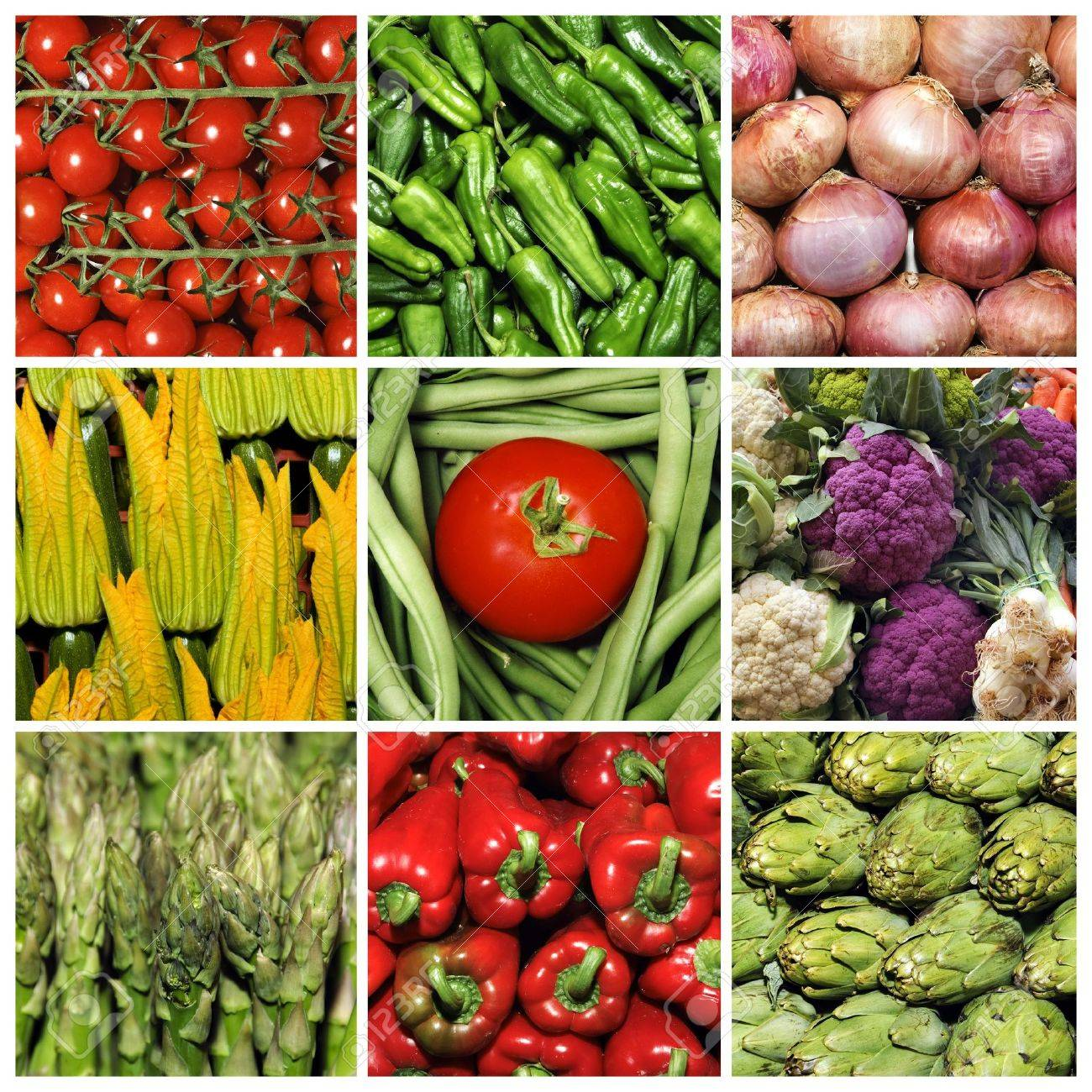 a collage of nine pictures of different vegetables Stock Photo - 6952892