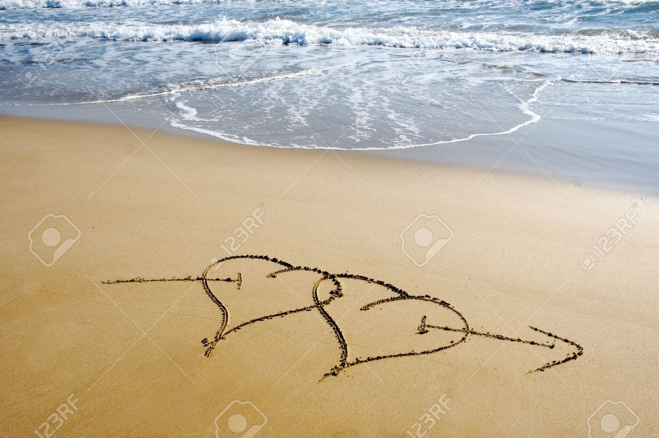 two ensambled hearts drawn in the sand of a beach Stock Photo - 7008641