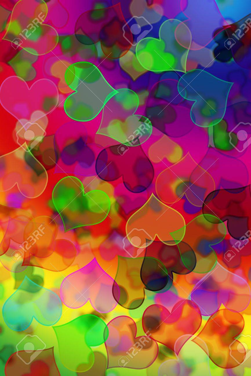0a00f800e8ab3 background of many hearts of different colors and sizes Stock Photo -  7146607