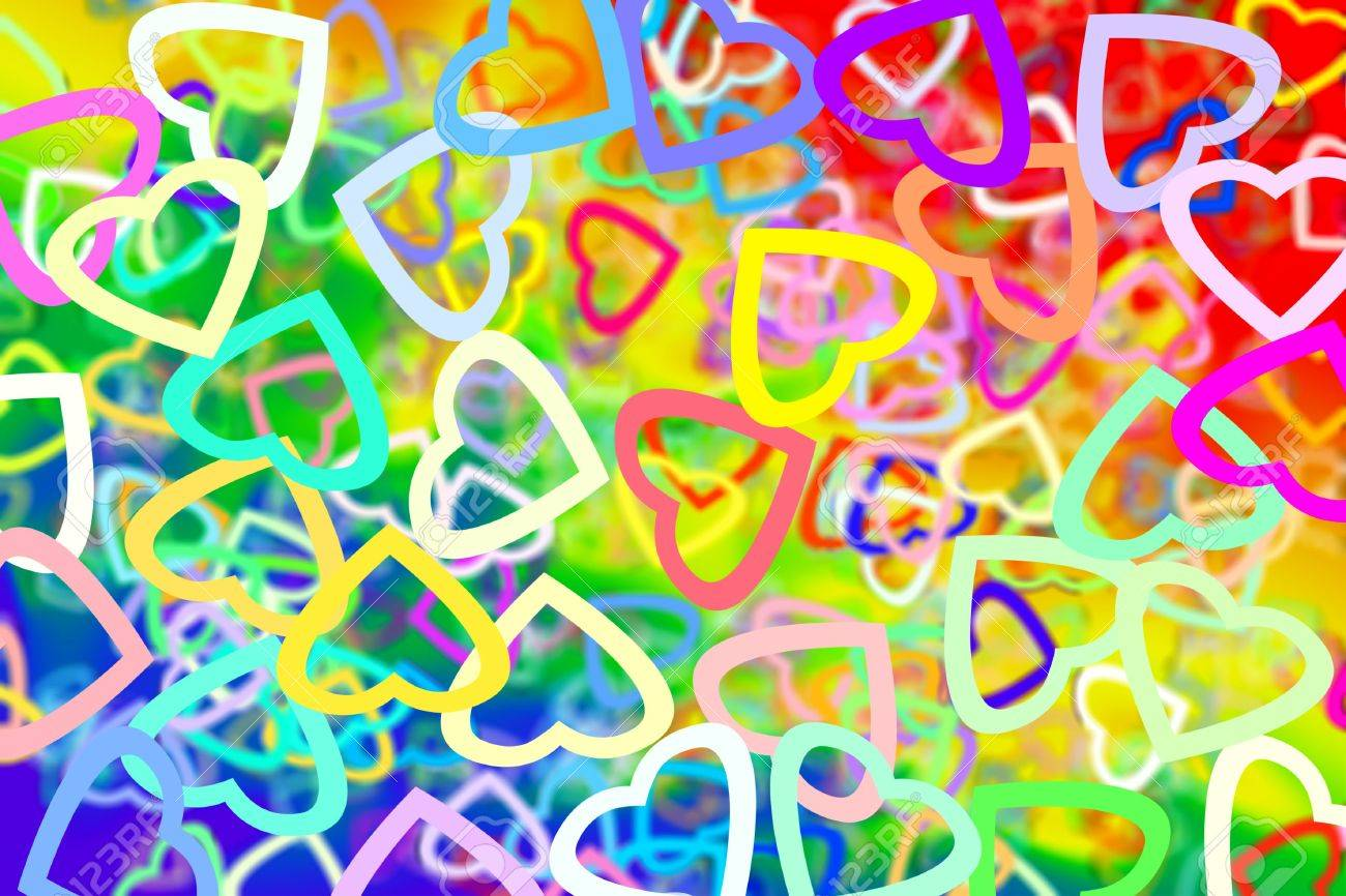 4b46a7c317d48 background of many hearts of different colors and sizes Stock Photo -  7162779