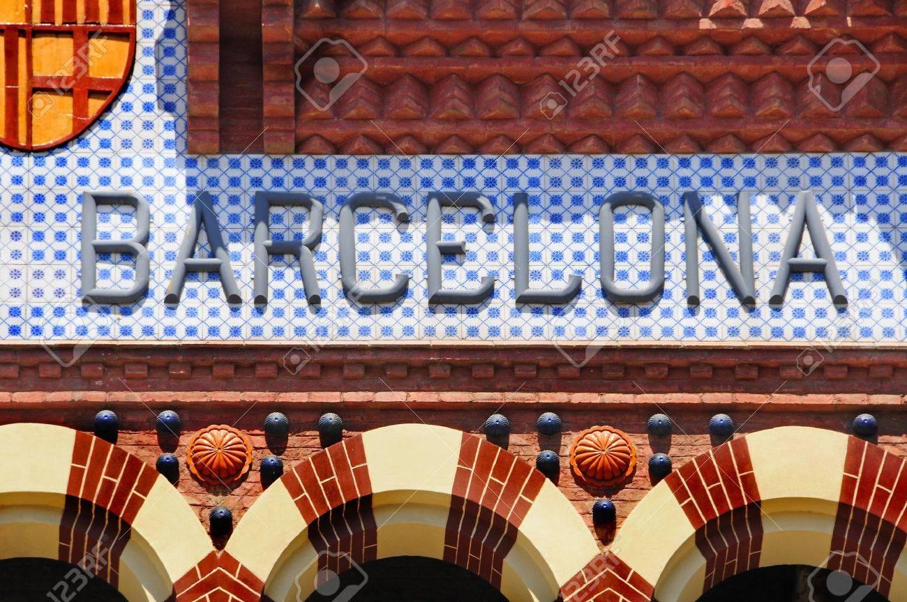 a barcelona sign writen in mosaic alphabet Stock Photo - 7242395