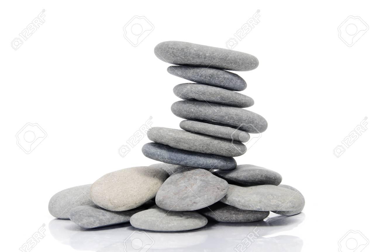 a pile of zen stones on a white background Stock Photo - 7330516