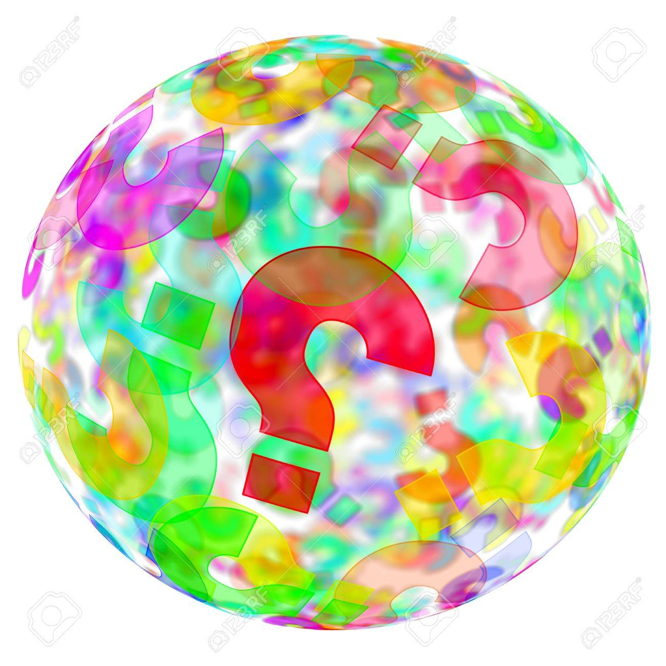 an sphere with question marks of different colors on a white background Stock Photo - 7336591