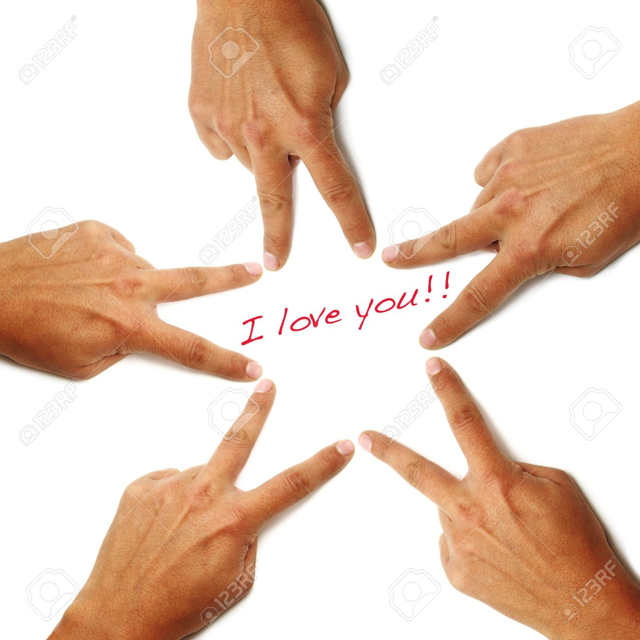 i love you written on a white background with hands drawing a star Stock Photo - 7403669