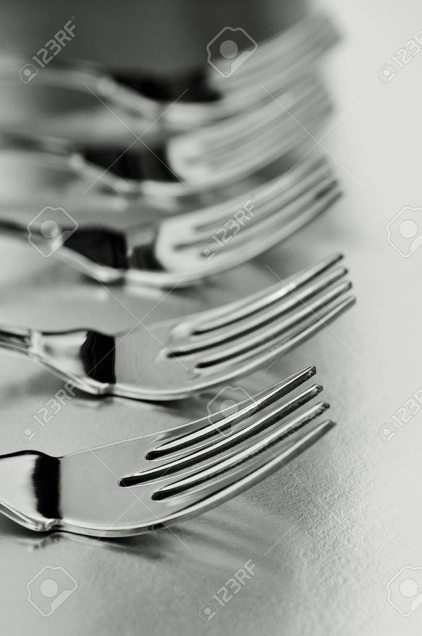 closeup of a line of forks in black and white Stock Photo - 7724648