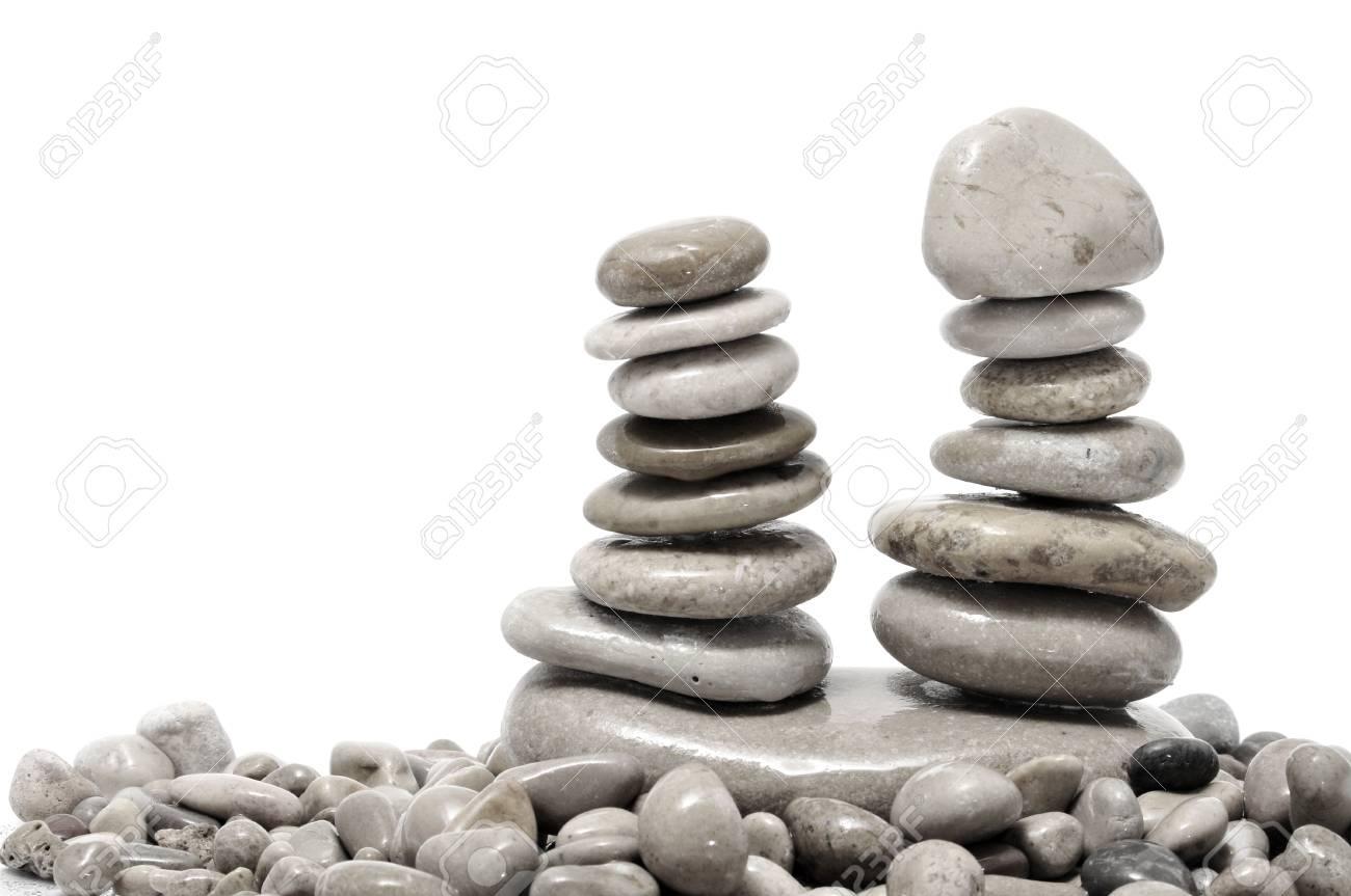 a pile of zen stones on a white background Stock Photo - 7775980