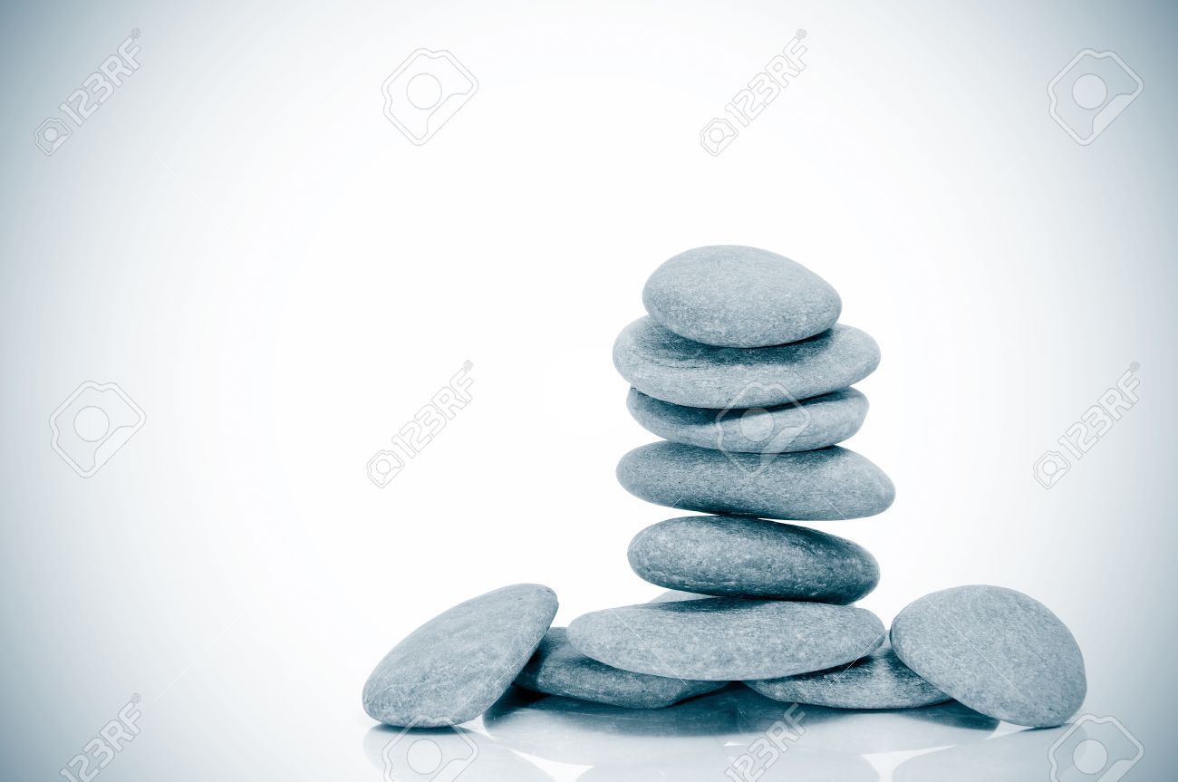 a pile of zen stones on a vignetted background Stock Photo - 8218971