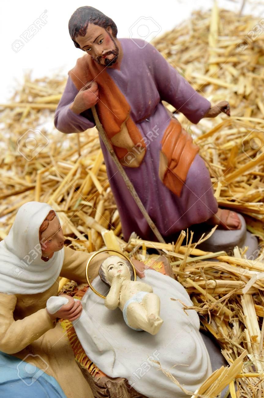 figures representing nativity scene on white background Stock Photo - 8387964