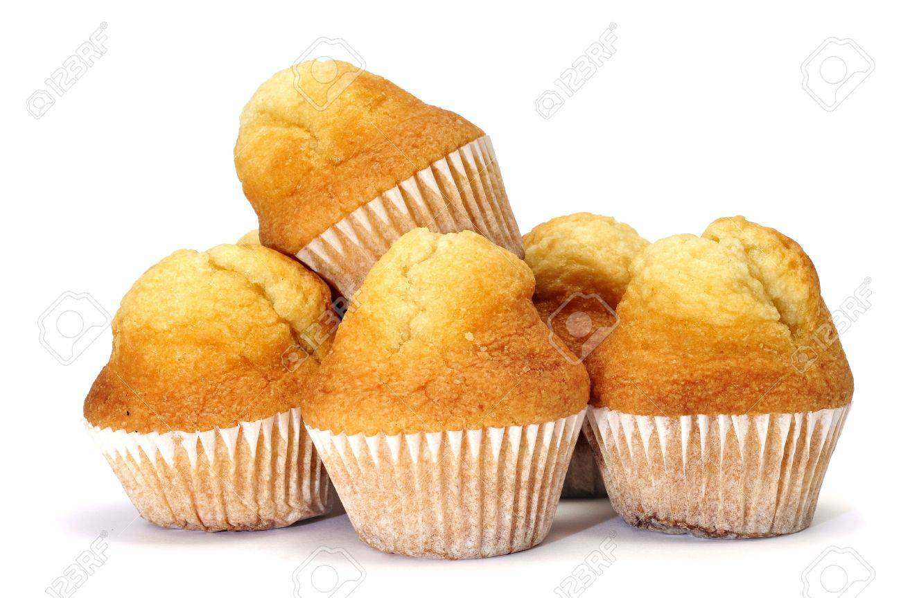 a pile of plain cupcakes on a white background Stock Photo - 8506218