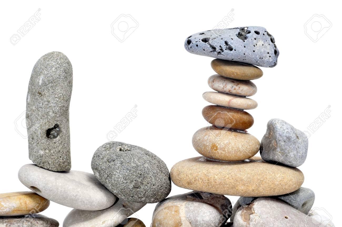 a pile of zen stones on a white background Stock Photo - 8517406