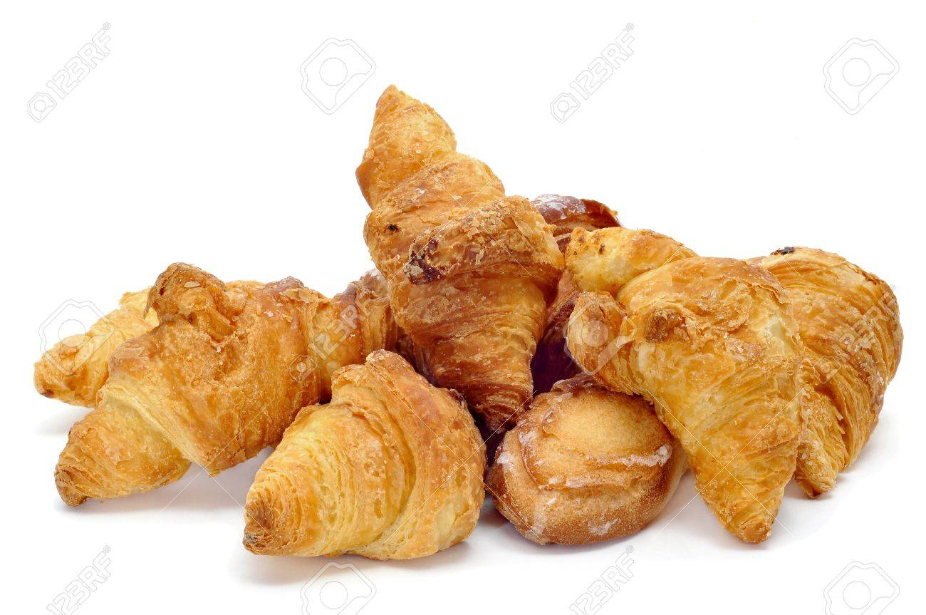 a pile of croissants isolated on a white background Stock Photo - 8665746