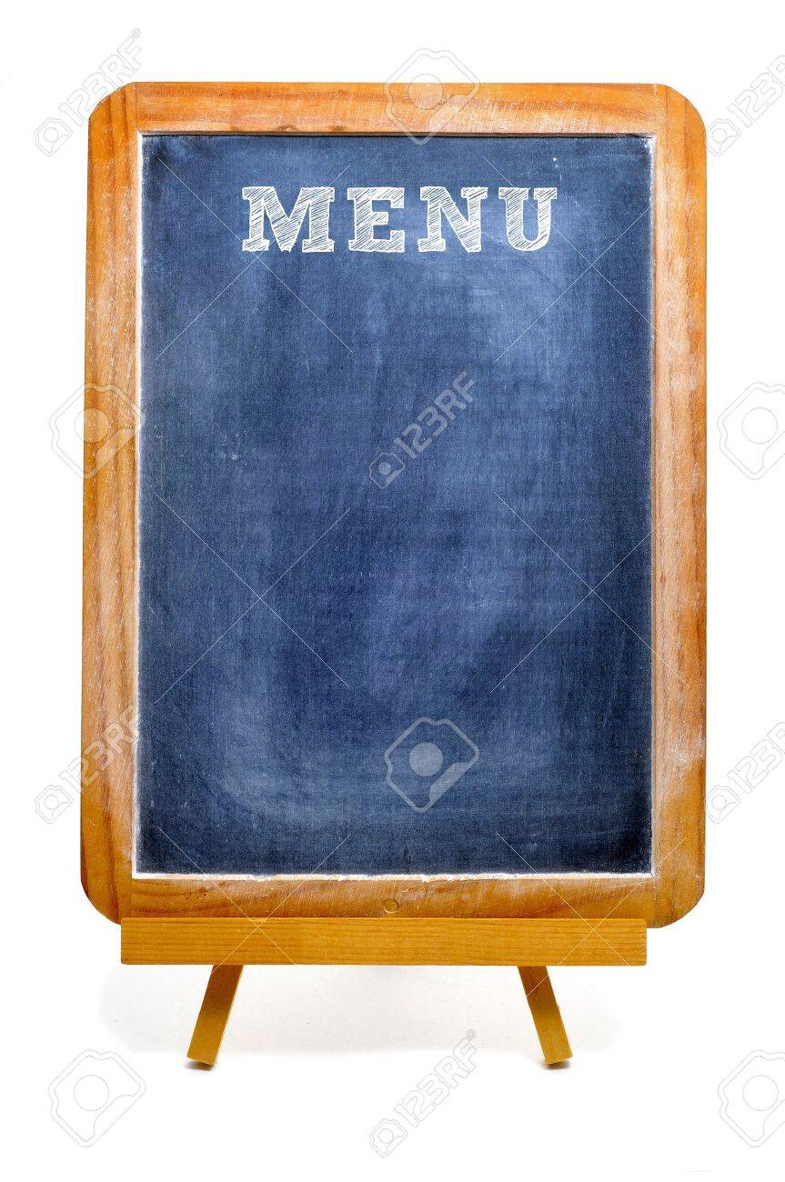 a blank blackboard menu on a white background stock photo, picture