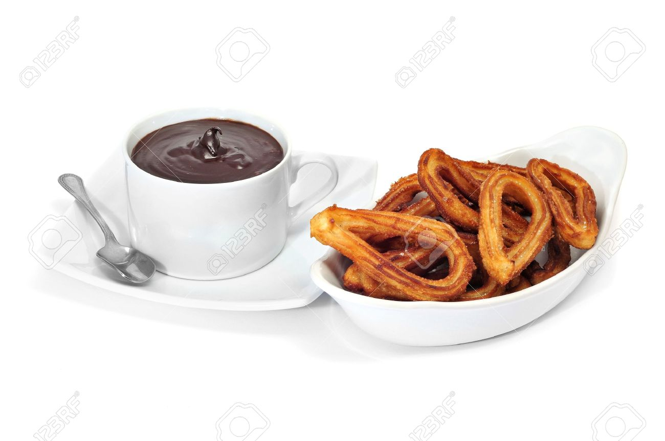 Churros Con Chocolate, A Typical Spanish Sweet Snack Stock Photo ...