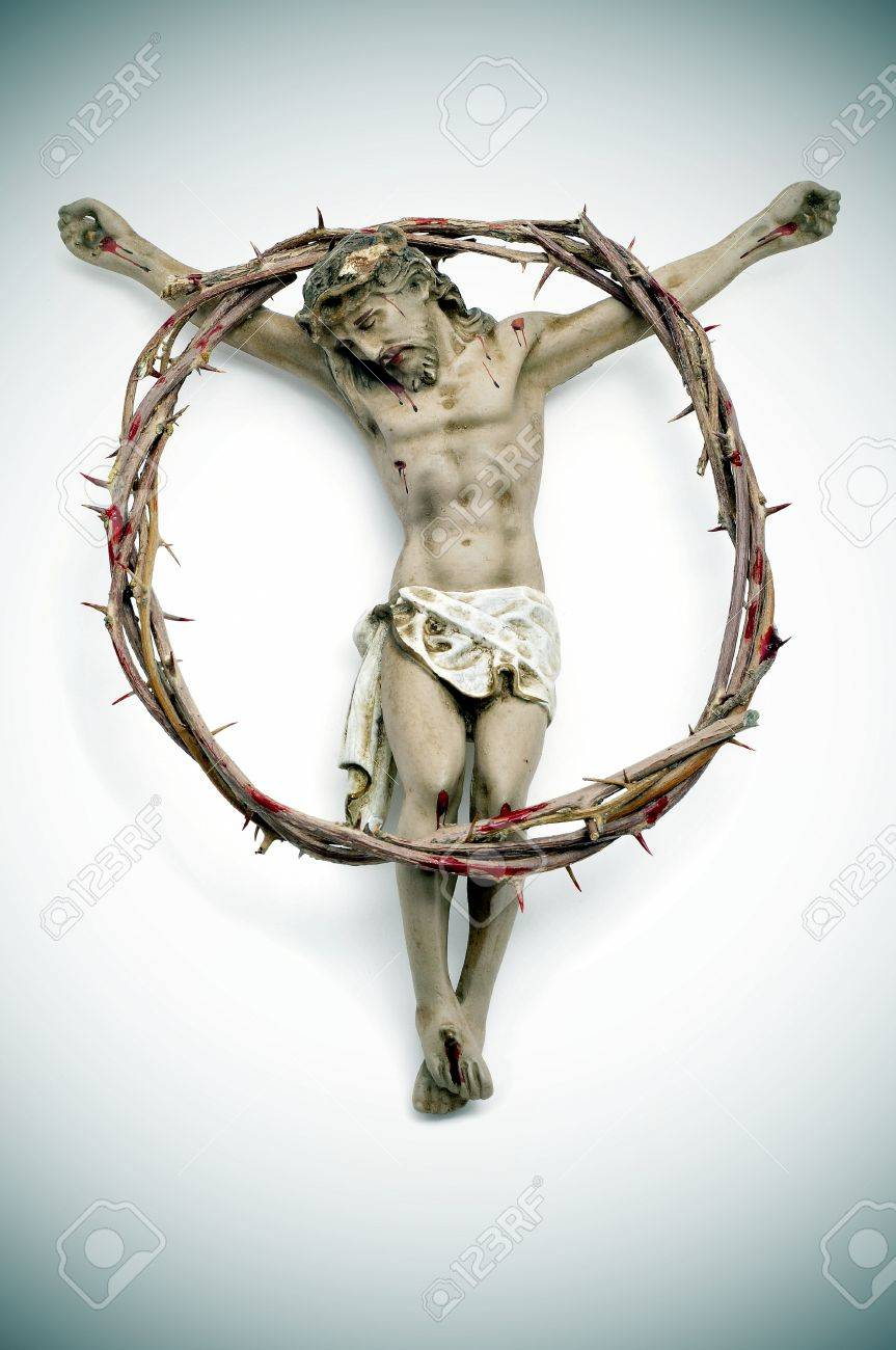 a figure of Jesus Christ and a bloody crown of thorns Stock Photo - 9066577